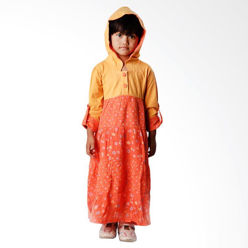 4 You Floral Hoodie Dress Anak - Orange