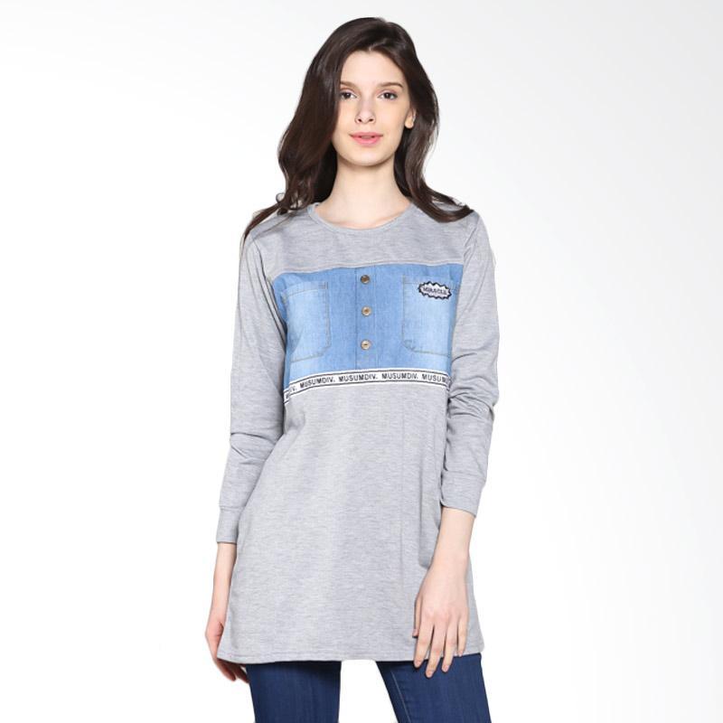Carte Denim Long Sleeve Blouse - Grey
