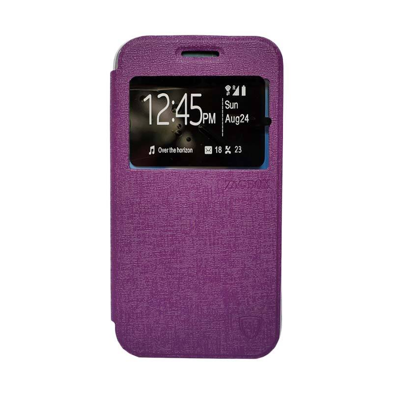 Zagbox Flip Cover Casing for Oppo R1 X - Ungu