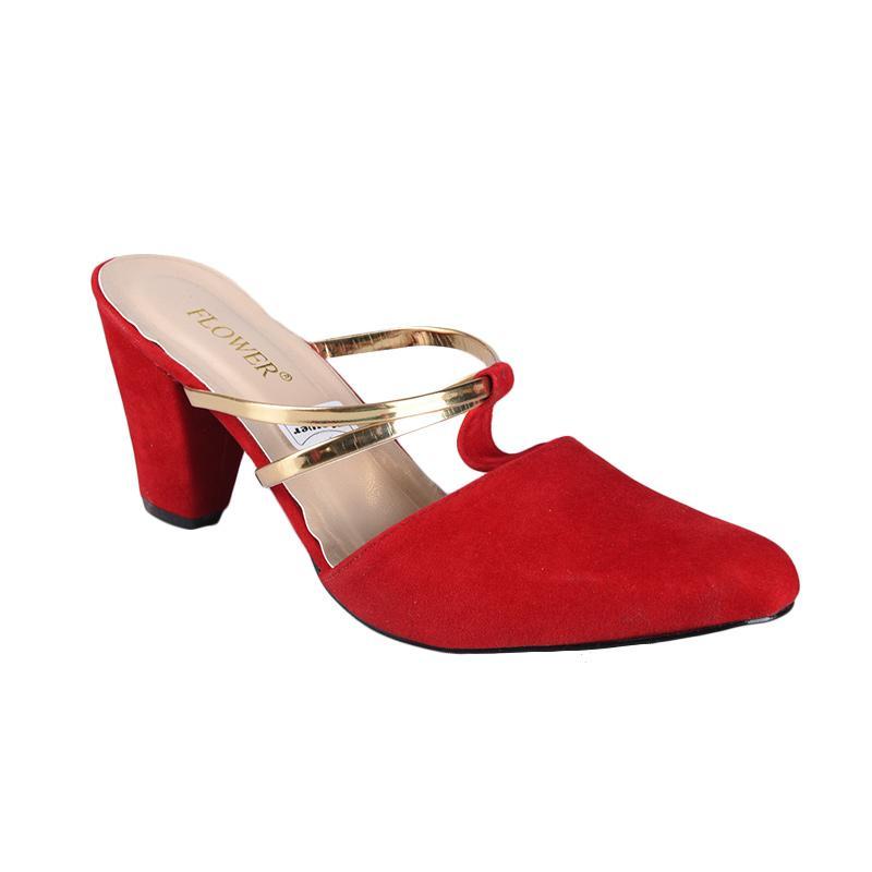 Flower SN-237 High Heels Wanita - Merah