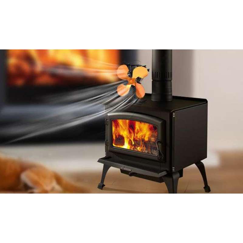 Jual 4 Blade Heat Powered Stove Burner, Cast Iron Fireplace Wood Burning Stove