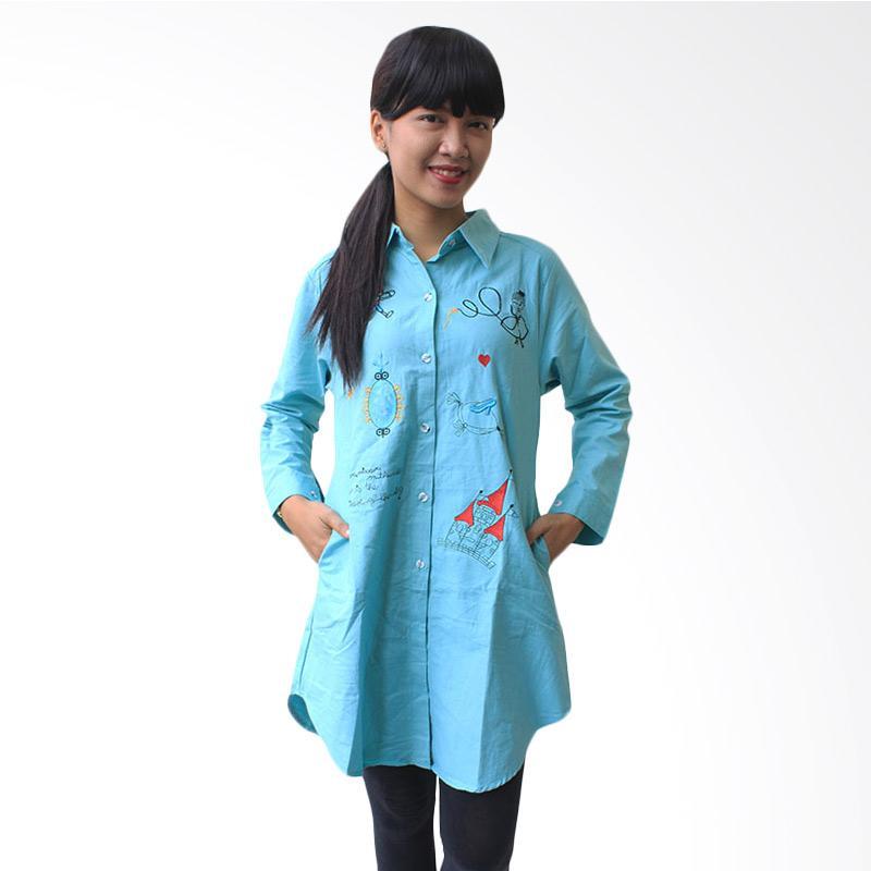 Aily K6864 Chic Simply Plain Tunik Woman - Biru
