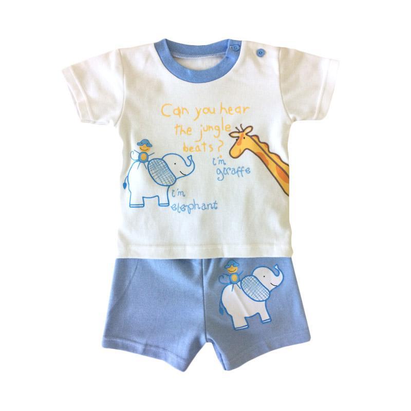 Pleu Set Giraffe Jumpsuit Bayi - Biru