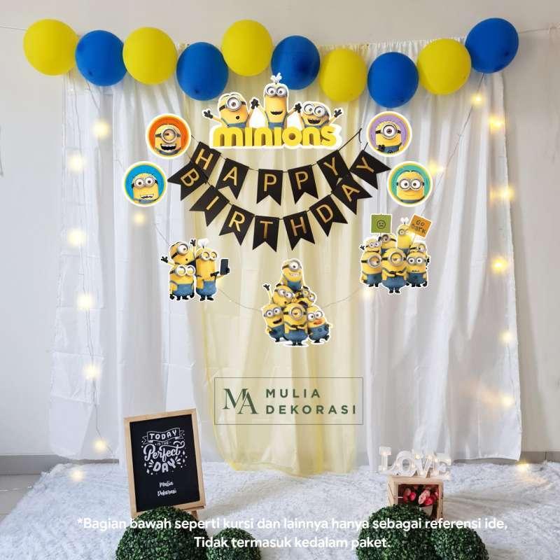 Jual Backdrop Dekorasi Ulang Tahun Happy Birthday Despicable Me Tirai Pesta  Anak Paket Minions Terbaru Juni 2021 | Blibli