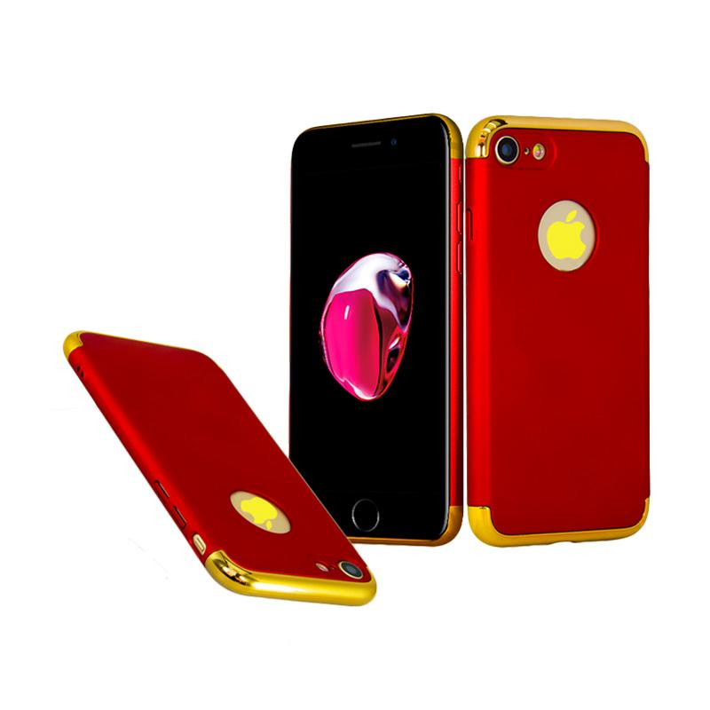 OEM in 1 Plated PC Frame Bumper with Frosted Hardcase Casing for iPhone 7 - Red