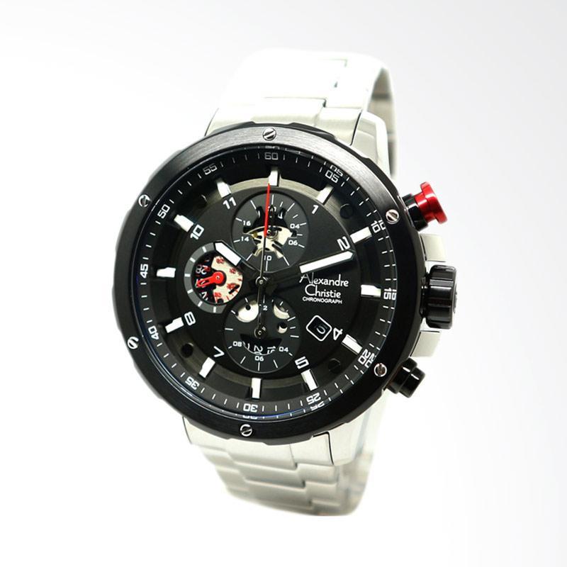 Alexandre Christie Jam Tangan Pria Silver Black Ring 6453 .