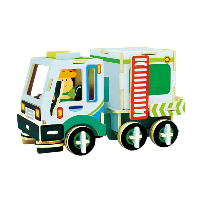Robotime VC404 DIY 3D Color Wooden Construction Series Cleaning Car Puzzle - Multicolor