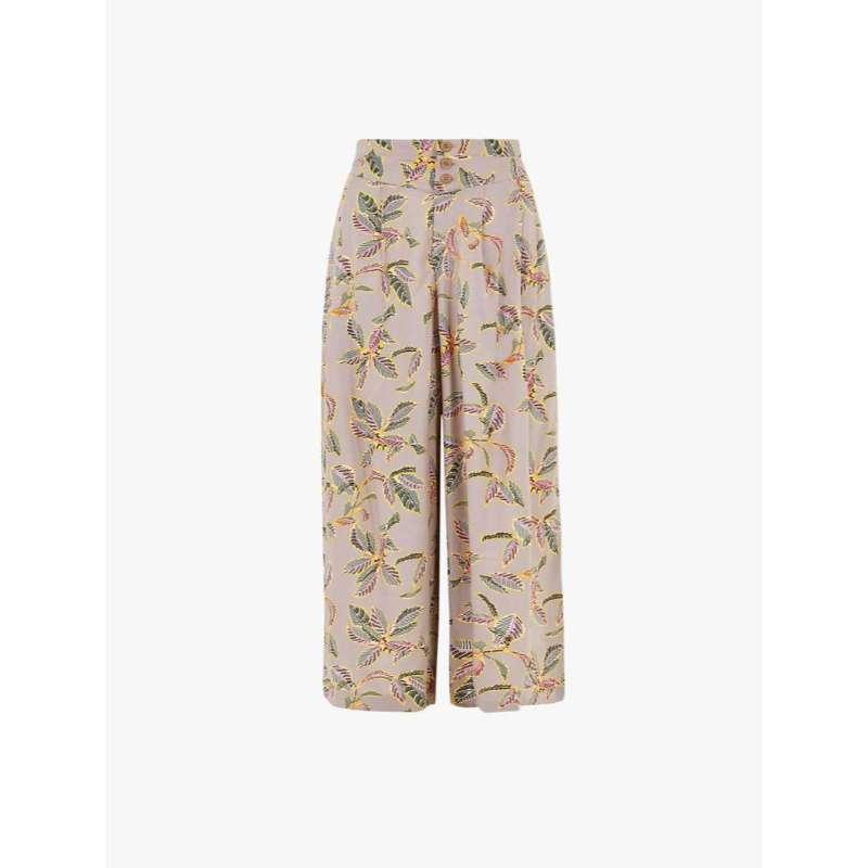 harga MARKS & SPENCER - Celana Panjang Wanita - Palm Print Wide Leg Cropped Trousers Blibli.com