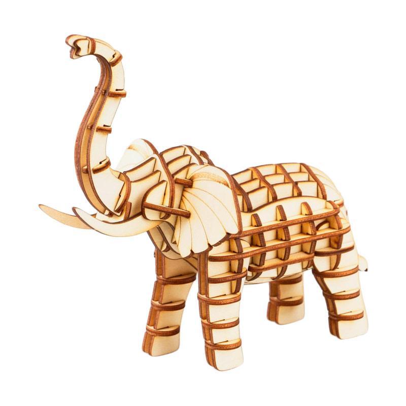 Robotime DIY Elephant TG203 3D Laser Wooden Puzzle - Brown