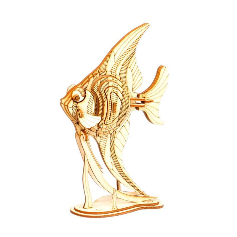Robotime DIY Angel Fish TG273 3D Laser Wooden Puzzle - Brown