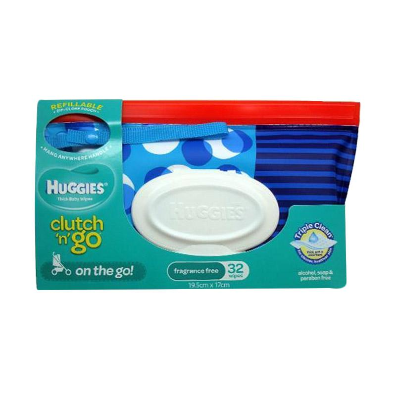 harga Huggies Clutch n' Go Fragrance Free 32 Wipes - Blue Bubbles Blibli.com