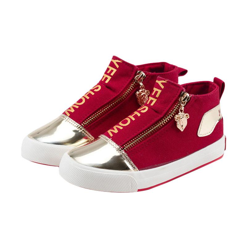 Chloebaby Shop S258 Canvas Kids Shoes Wearable Rubber Sneakers Zipper Girls Shoes Casual Comfortable Sepatu Anak - Red