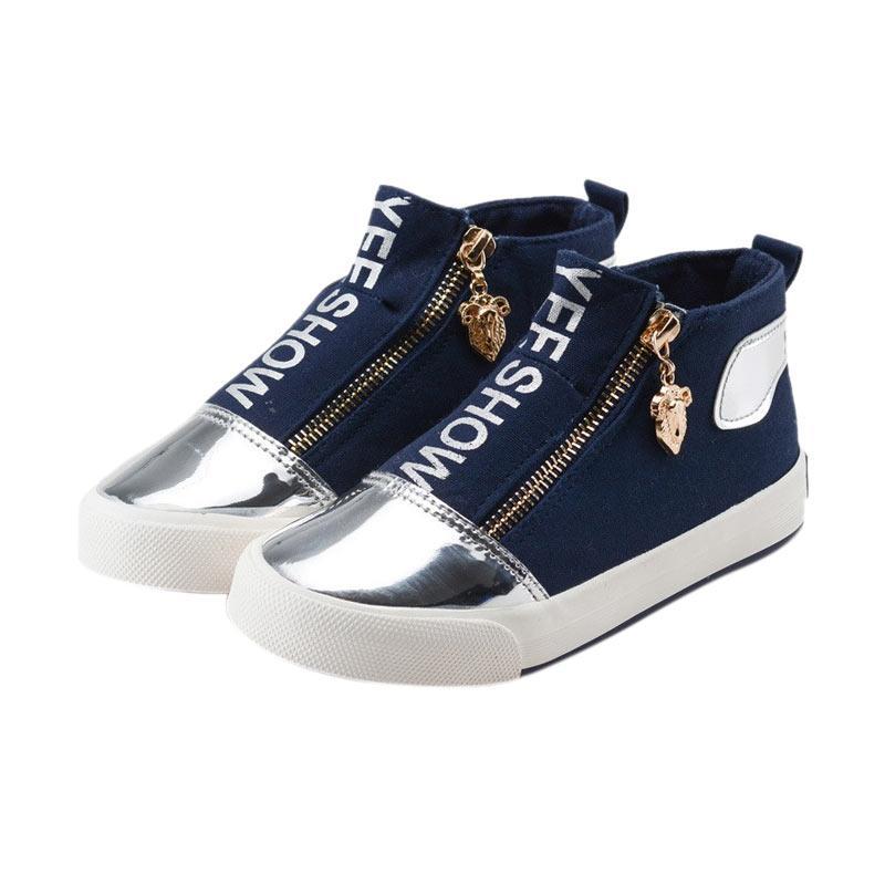 Chloebaby Shop S258 Canvas Wearable Rubber Sneakers Zipper Girls Shoes Casual Comfortable Sepatu Anak - Navy