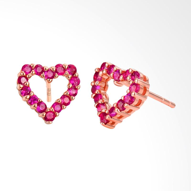 Tiaria 18K Heart Ruby Rose Gold Earring Anting Wanita