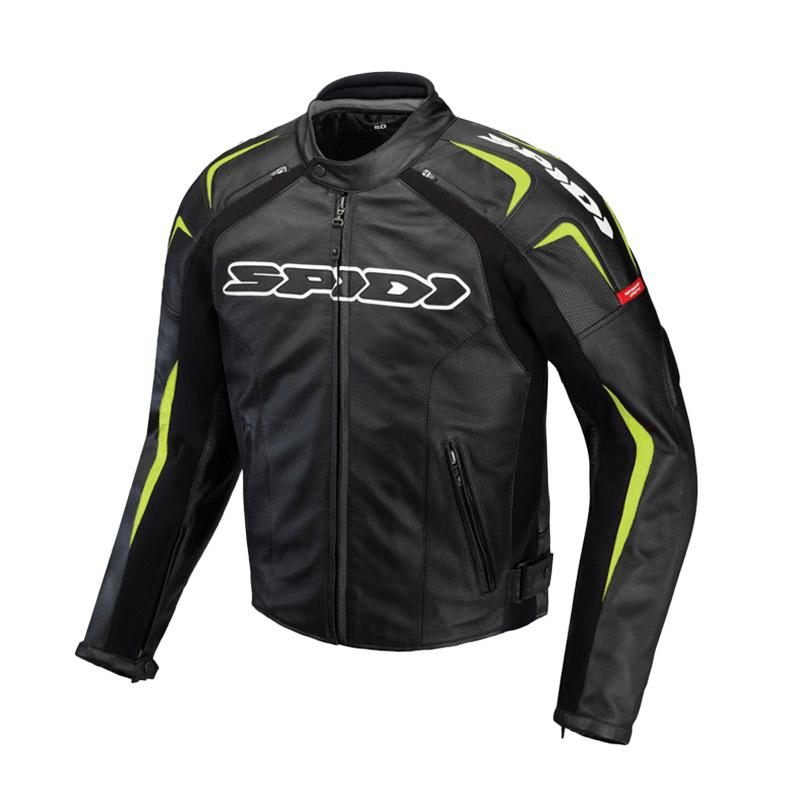 Spidi Track Leather Jaket Motor - Acid Green Black