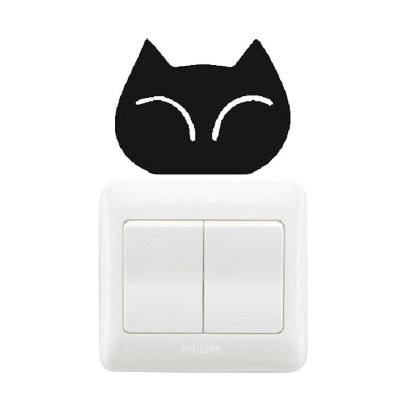 OEM Mata Kucing Dekorasi Tombol Lampu Saklar Wall Sticker - Hitam