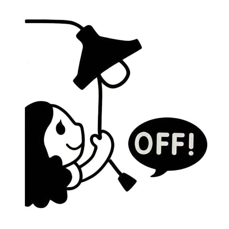 OEM Motif Motif Girl Off Dekorasi Tombol Lampu Saklar Wall Sticker - Hitam