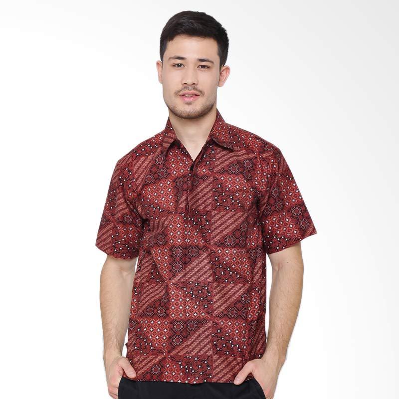 Jening Batik Short Sleeve Kemeja Pria - Brown RAFA-006