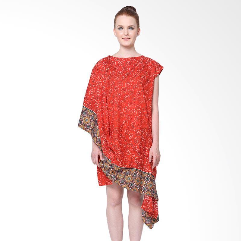Days by Danarhadi Women Jumput Segi Warna Diagonal Dress Wanita - Red Orange