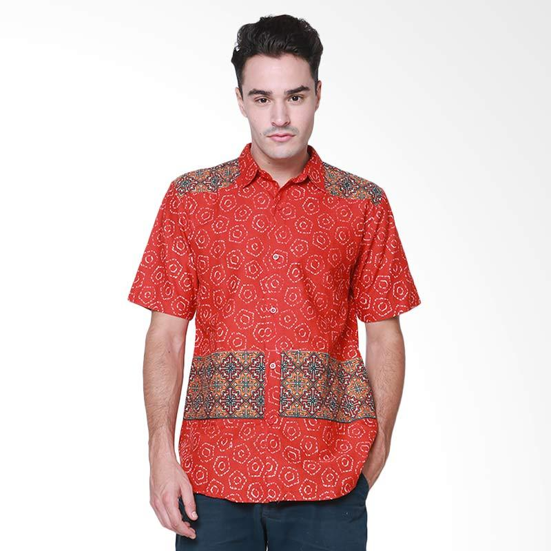 Days by Danarhadi Men Jumput Segi Men's Shirt Hem Batik Pria - Red