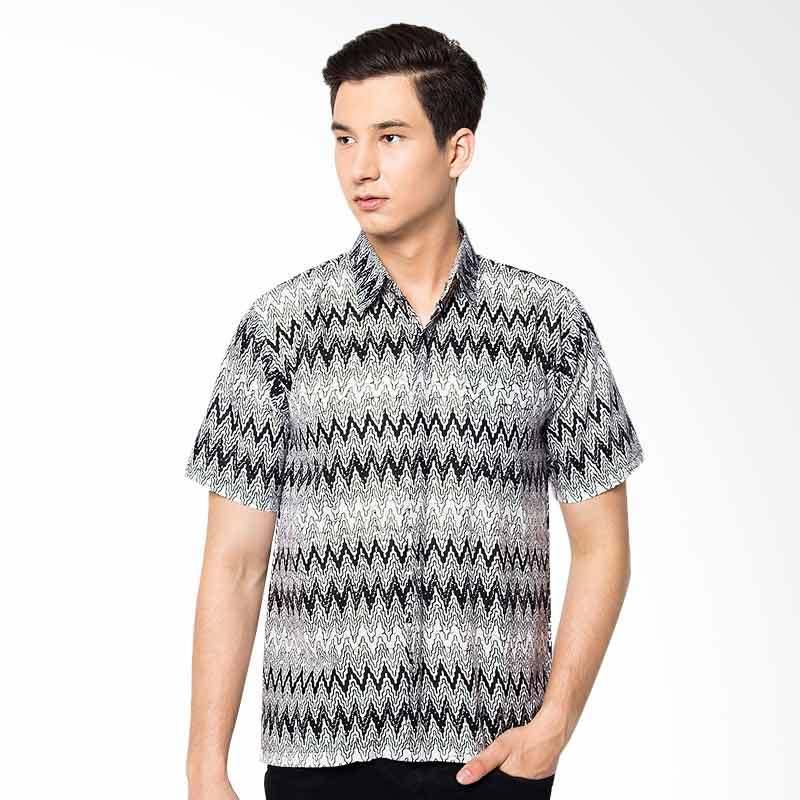 Jening Batik Short Sleeve Slim Fit Kemaja Pria - White JNG003