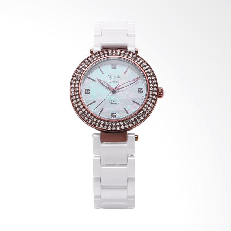 Alexandre Christie ACF-2323-LHBIUMS Ladies Mother of Pearl Dial Stainless Steel Jam Tangan Wanita - White Rose Gold
