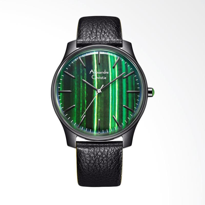 Alexandre Christie ACF-8532-MHLIGGN Signature Watch Theme Dial Black Leather Strap Jam Tangan Wanita - Black