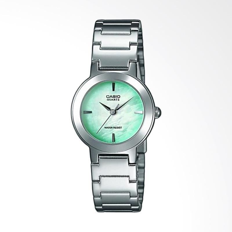 Casio LTP-1191A-3CDF Enticer Ladies Pearl Dial Stainless Steel Jam Tangan Wanita - Green