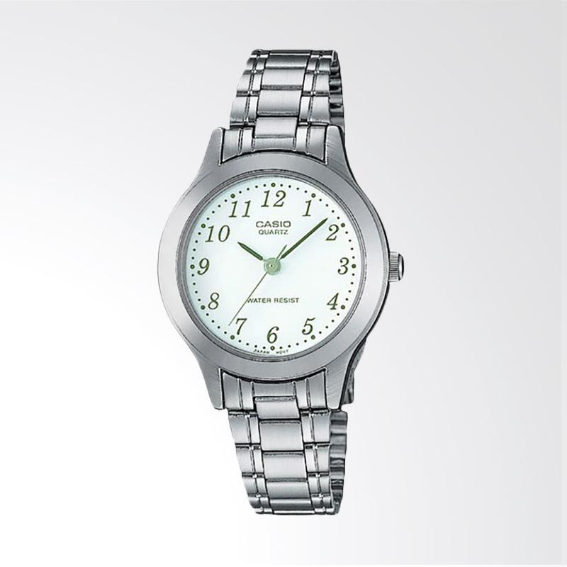 Casio LTP-1128A-7BRDF Enticer Ladies White Dial Stainless Steel Jam Tangan Wanita