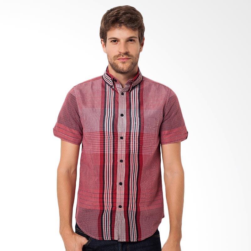 A&D Fashion Mens Casual Baju Atasan Pria - Red Ms 706a