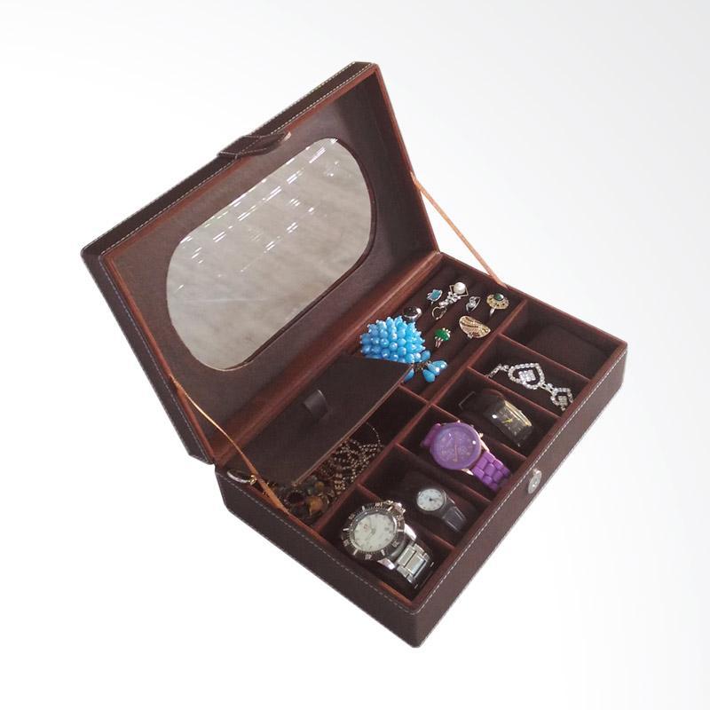 Bakul BK05 Etnik Kotak Jam & Perhiasan - Coklat Tua