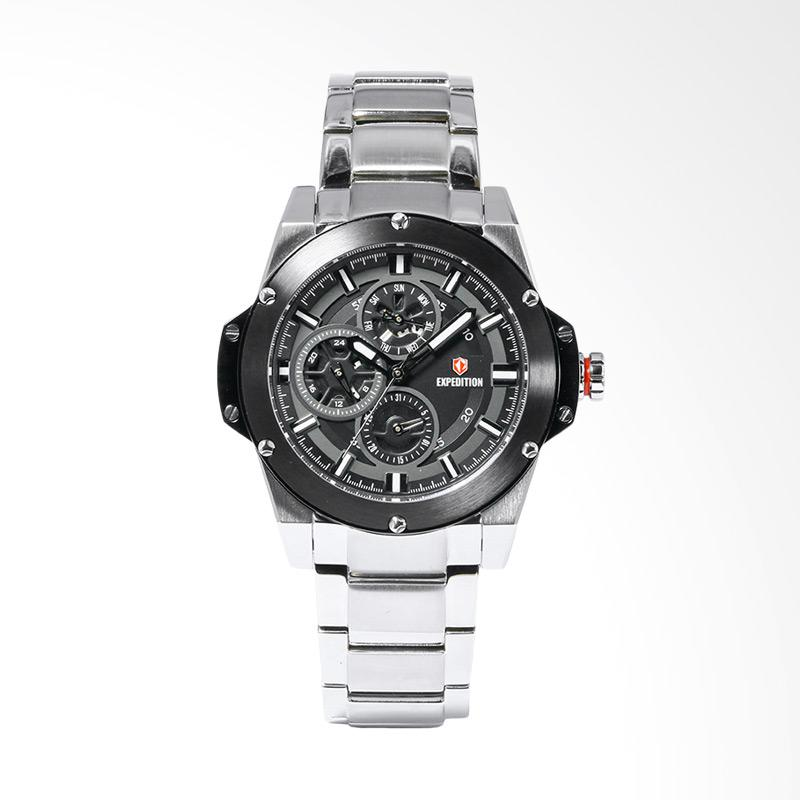 Expedition EXF-6696-BFBTBBA Sport Black Dial Stainless Steel Watch Jam Tangan Unisex -Silver
