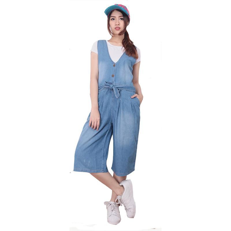 Miracle Online Shop Pappy Jumpsuit Jeans Kulot Pendek - Biru Muda