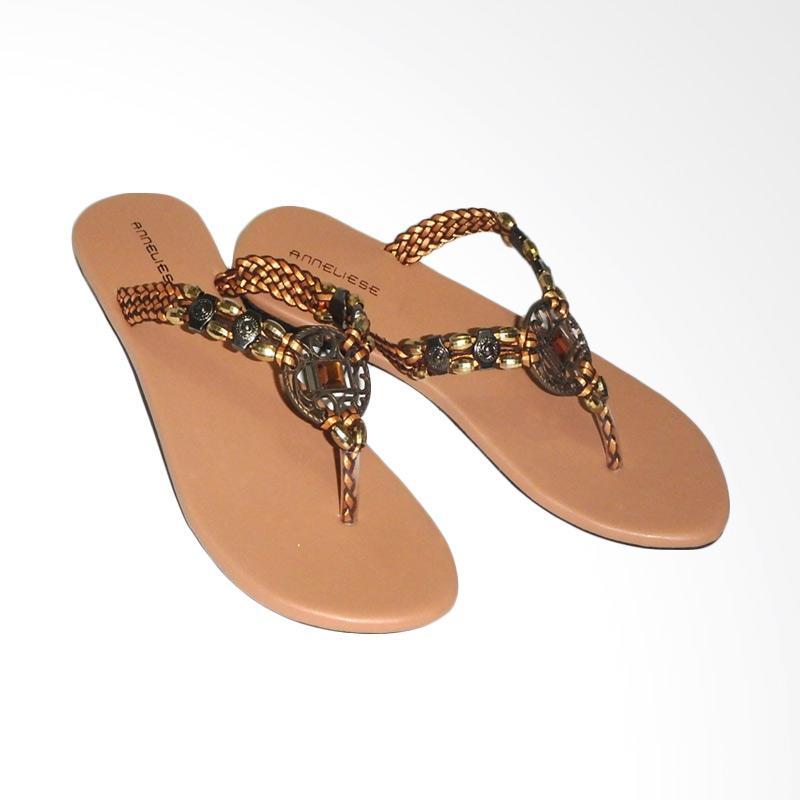Anneliese Sandal Flat Wanita - Mirror Tan