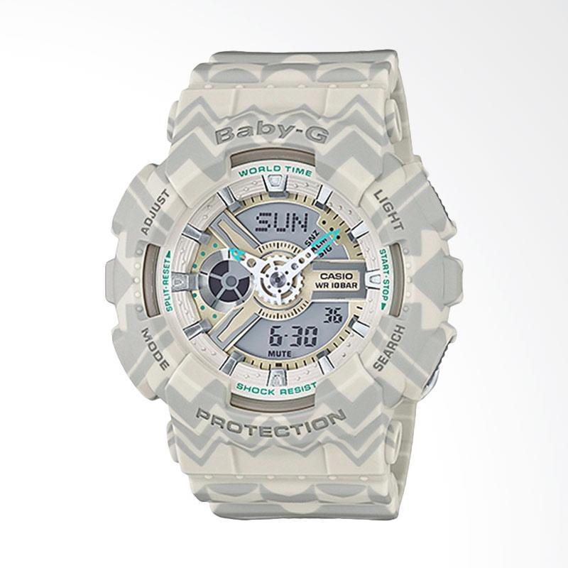 Casio Baby-G BA-110TP-8ADR Water Resistant 100M Resin Band Jam Tangan Wanita - White Grey