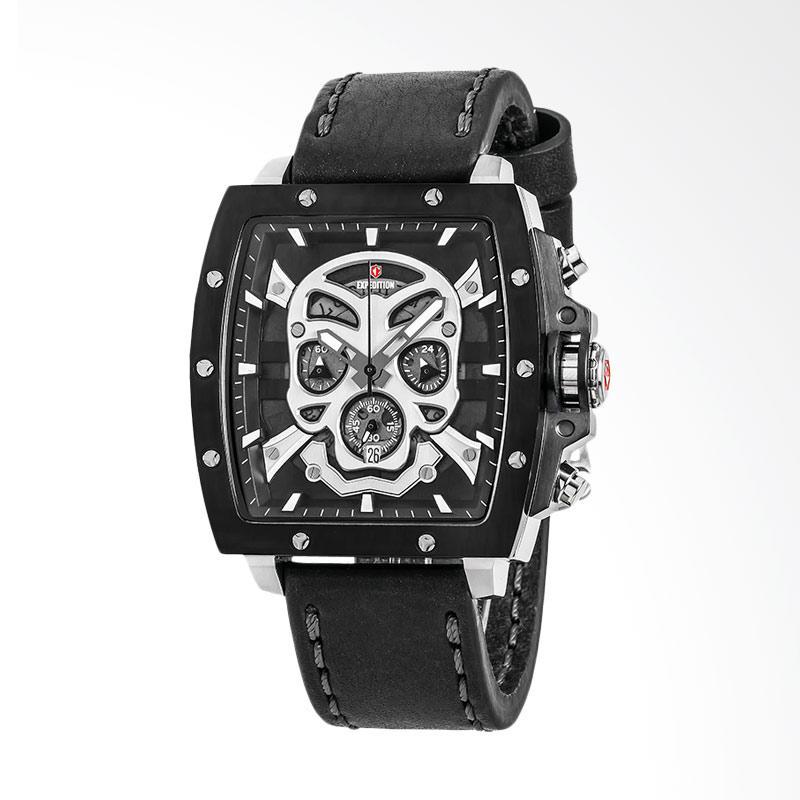 Expedition Man Skeleton Black Dial Black Leather Strap Set Jam Tangan Pria - Black EXF-6688-MCLTBBA
