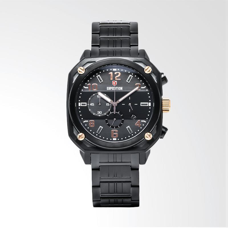 Expedition Man Chronograph Black Dial Stainless Steel Jam Tangan Pria - Black EXF-6738-MCBBRBA