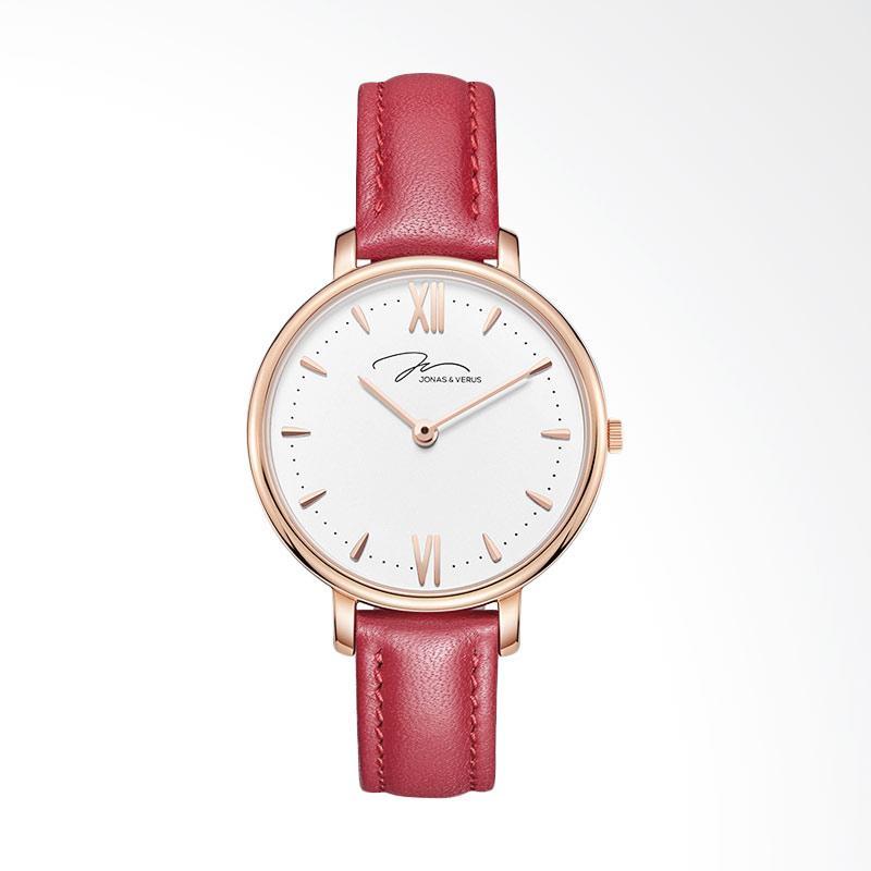 Jonas Verus X00752-Q3.PPWLR Quartz Minimalist Leather Strap  Jam Tangan Wanita - Red