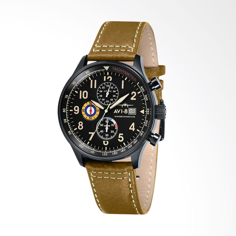 AVI-8 Man Hawker Hurricane Watch Leather Strap Jam Tangan Wanita - Mustard Black AV-4011-06