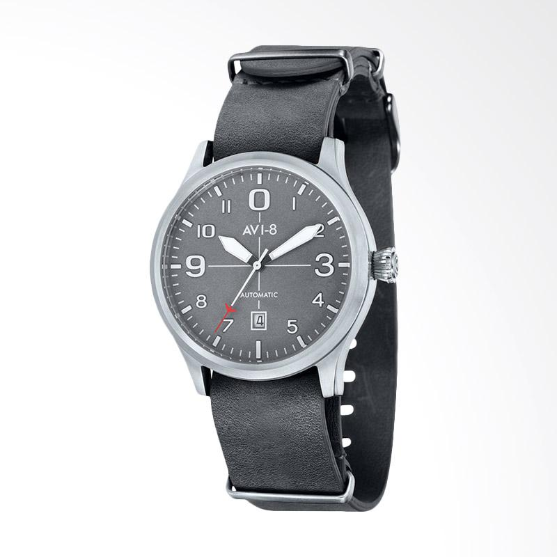 AVI-8 AV-4021-0B Flyboy Automatic Watch Grey Dial Grey Leather Strap Jam Tangan Wanita - Grey