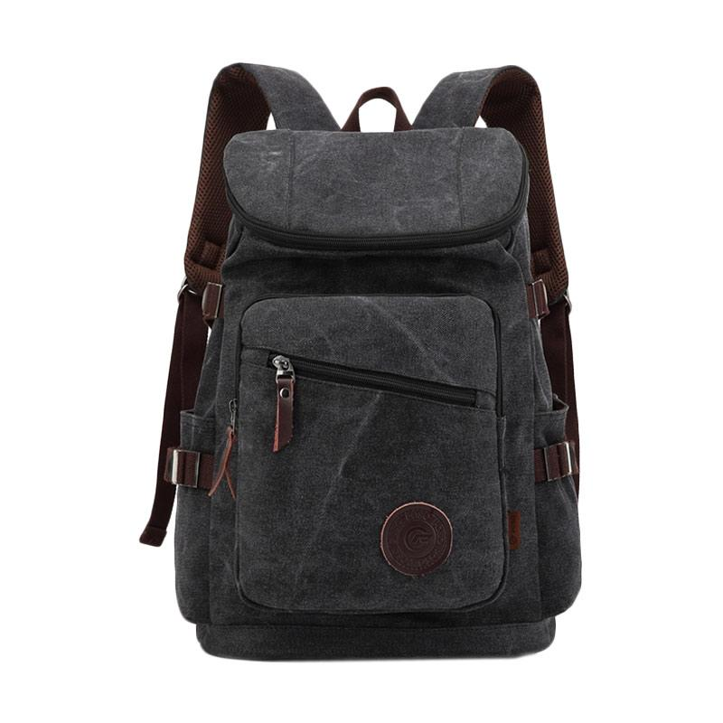 POSO PS-206 Original Vintage Retro Unisex Backpack Canvas Large Capacity Bag Leisure College - Black