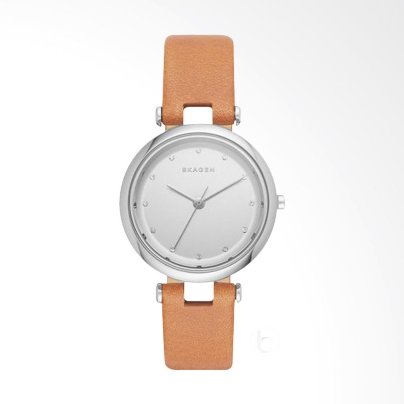 Skagen SKW2455 Tanja Silver Dial Brown Leather Strap Watch Jam Tangan Wanita - Brown