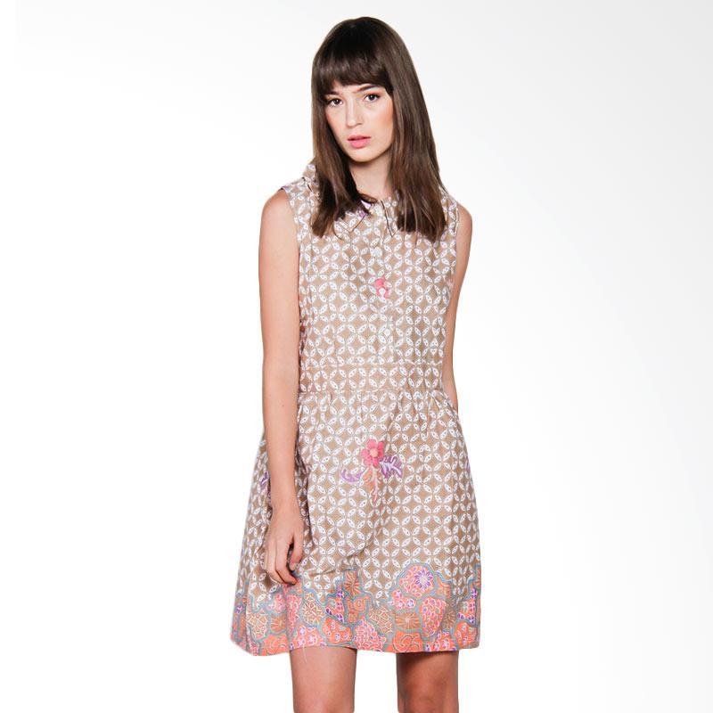 Djoemat Gembira D16-10-02 Batik Lydia Sleeveless Dress - Brown