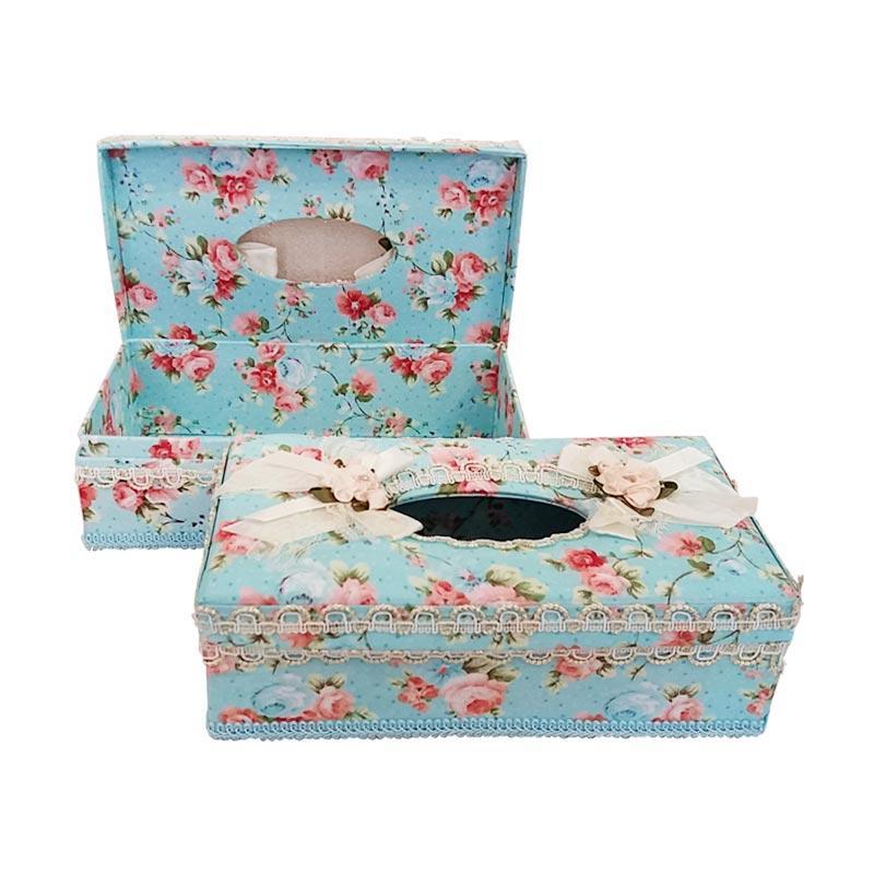 Decora Living Shabby Tissue Box Aksen Dekorative - Biru Muda