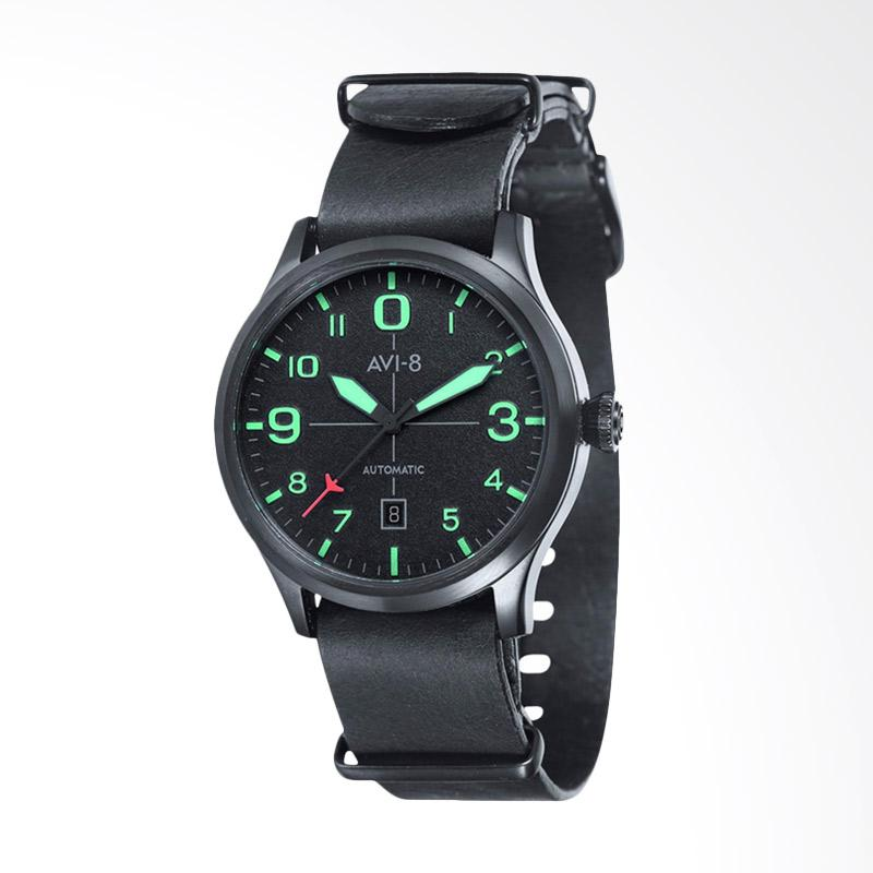 AVI 8 Man Flyboy Automatic Watch Black Dial Leather Strap Jam Tangan Pria - Black Green AV-4021-0C