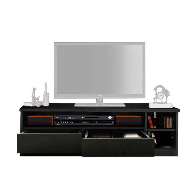 Best Furniture Kei80 Glossy Rak TV Minimalis - Hitam [Uk.80 x 37 cm]