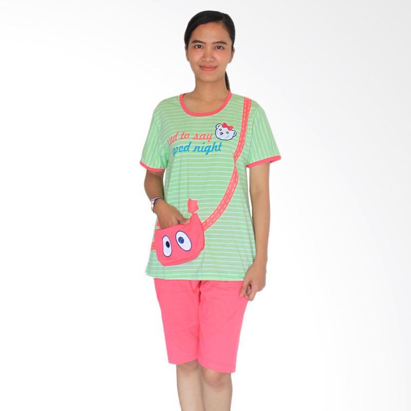 Aily 302 Setelan Baju Tidur Wanita & Celana Pendek - Hijau