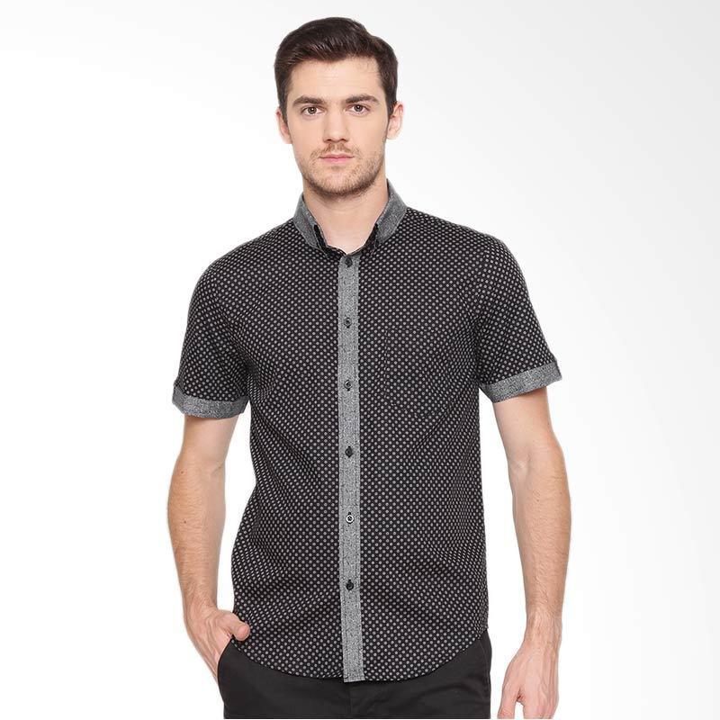 A&D Fashion Mens shirt Short Sleeve Kemeja Pria - Black [Ms 937]