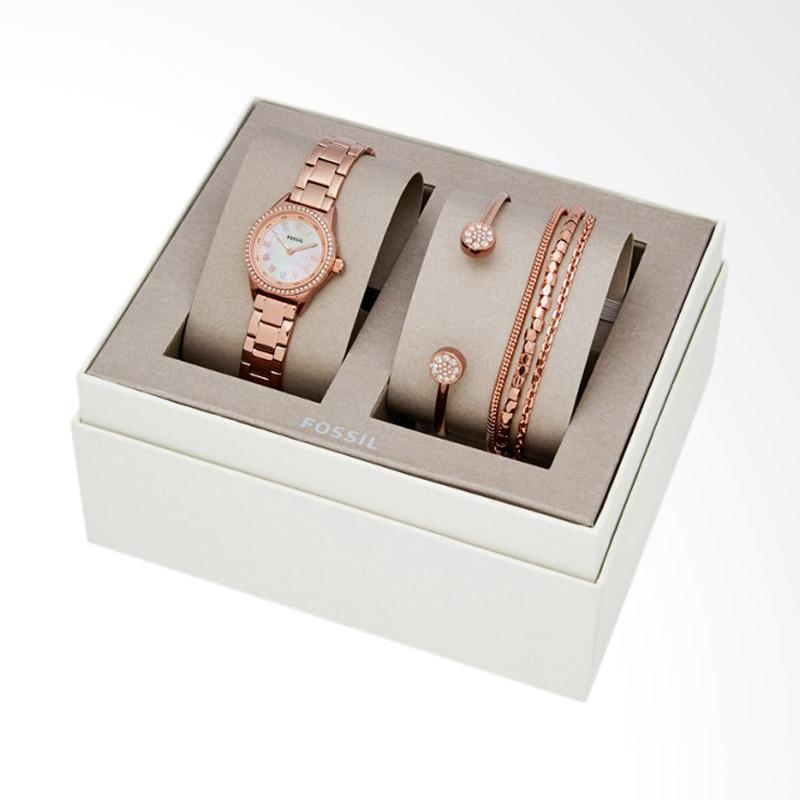 Jual Fossil BQ 3148SET Blythe Tone Stainless Steel Watch And Jewelry Gift Set Jam Tangan Fashion