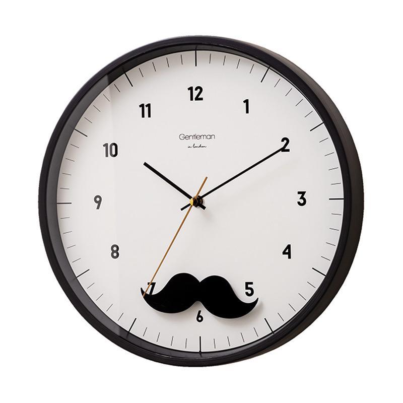Zeller Life Mustache Modern Home Decor Round Pendulum Clock Jam Dinding - Black